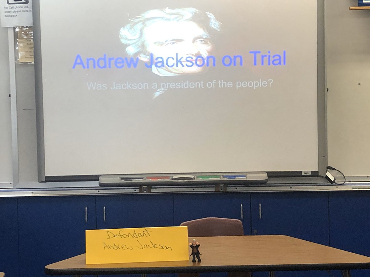 @mrsbyarshistory Pre-Trial prep for Andrew Jackson Was Jackson a president of the people? #CCSS20 #cuerockstar20