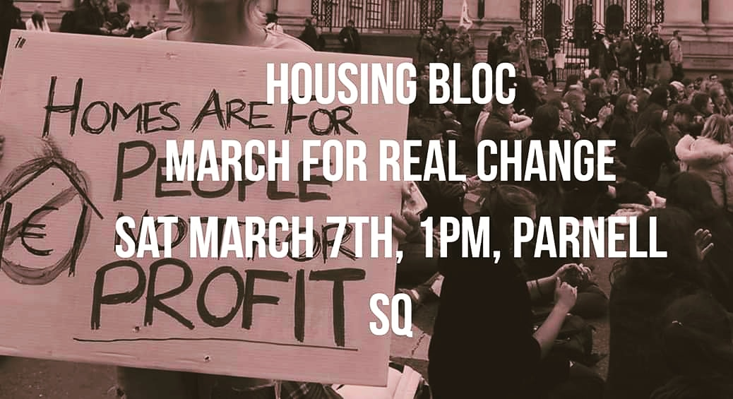 Join housing activists and campaigners from across the country this Saturday 7th March in Dublin from 1pm.   We want all parties to commit to radical action on housing. #endhomelessness #homesforall https://t.co/JFr8pJyjob