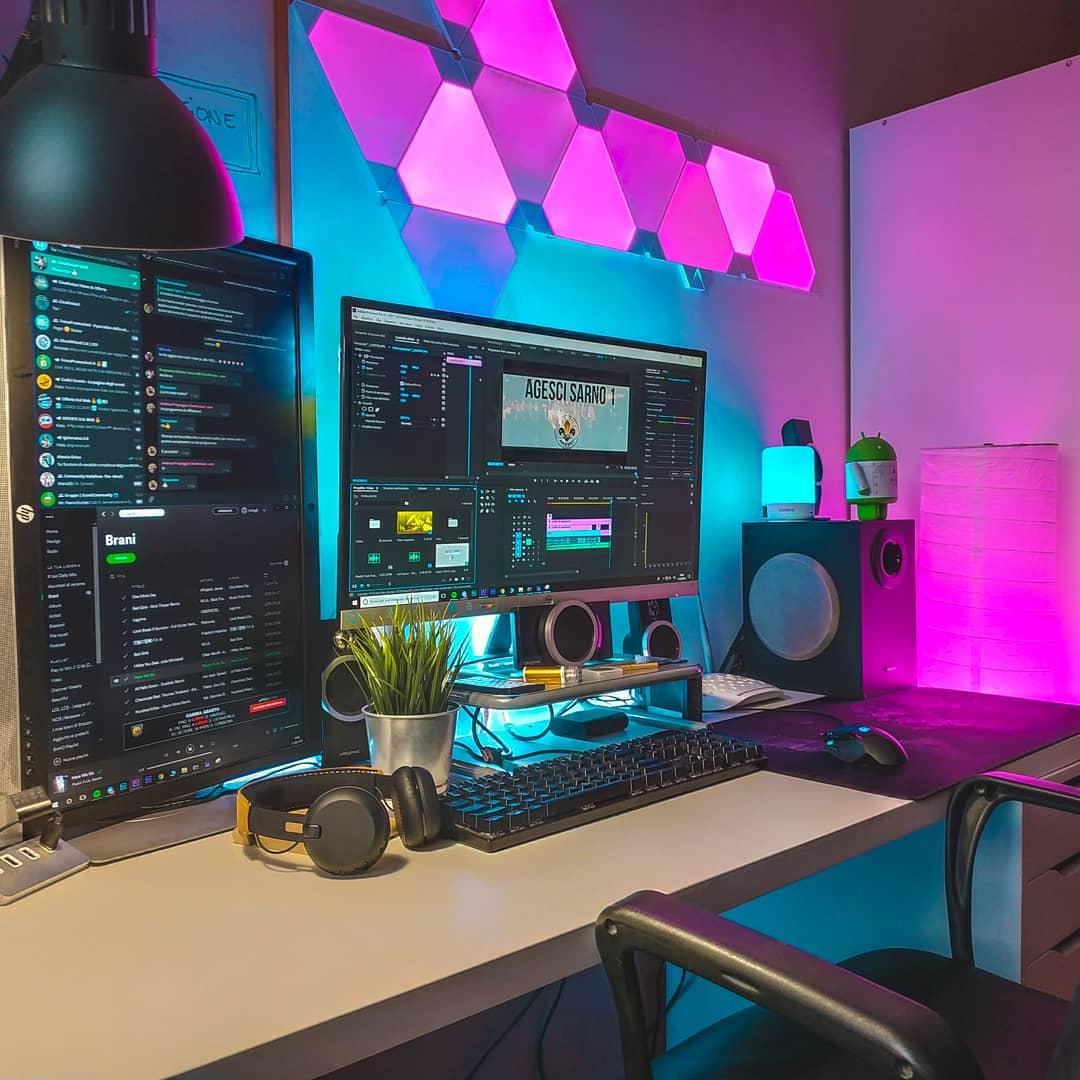 """Nanoleaf on Twitter: """"Without them, it's a computer desk. With them, it's a battle station #nanoleaf : Spegiu (instagram) #lightpanels #rgb #setup #battlestation #gaming #editing #gamer #inspo #goals https://t.co/jK5XhoufLP"""""""