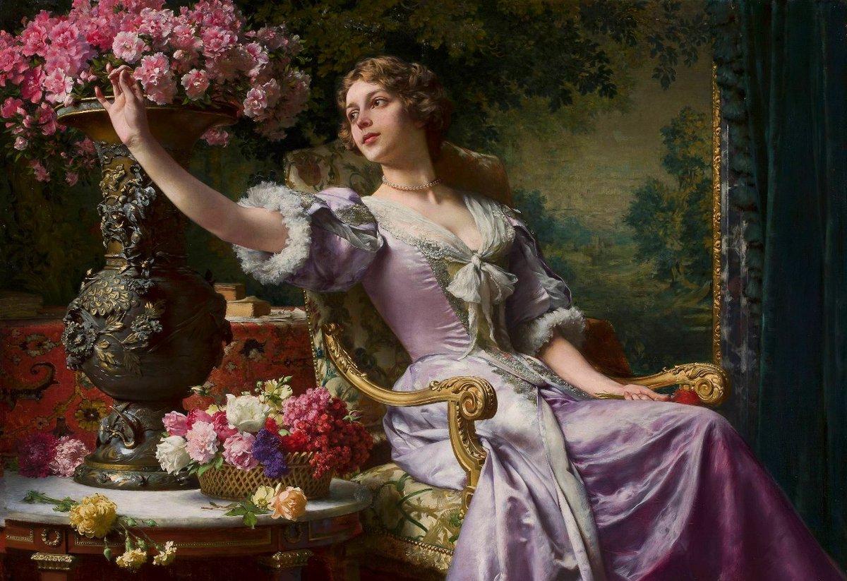 Lady in Lilac (1890) by Władysław Czachórski (1850-1911). #Flowers #PolishArtpic.twitter.com/gHBifc6pxO