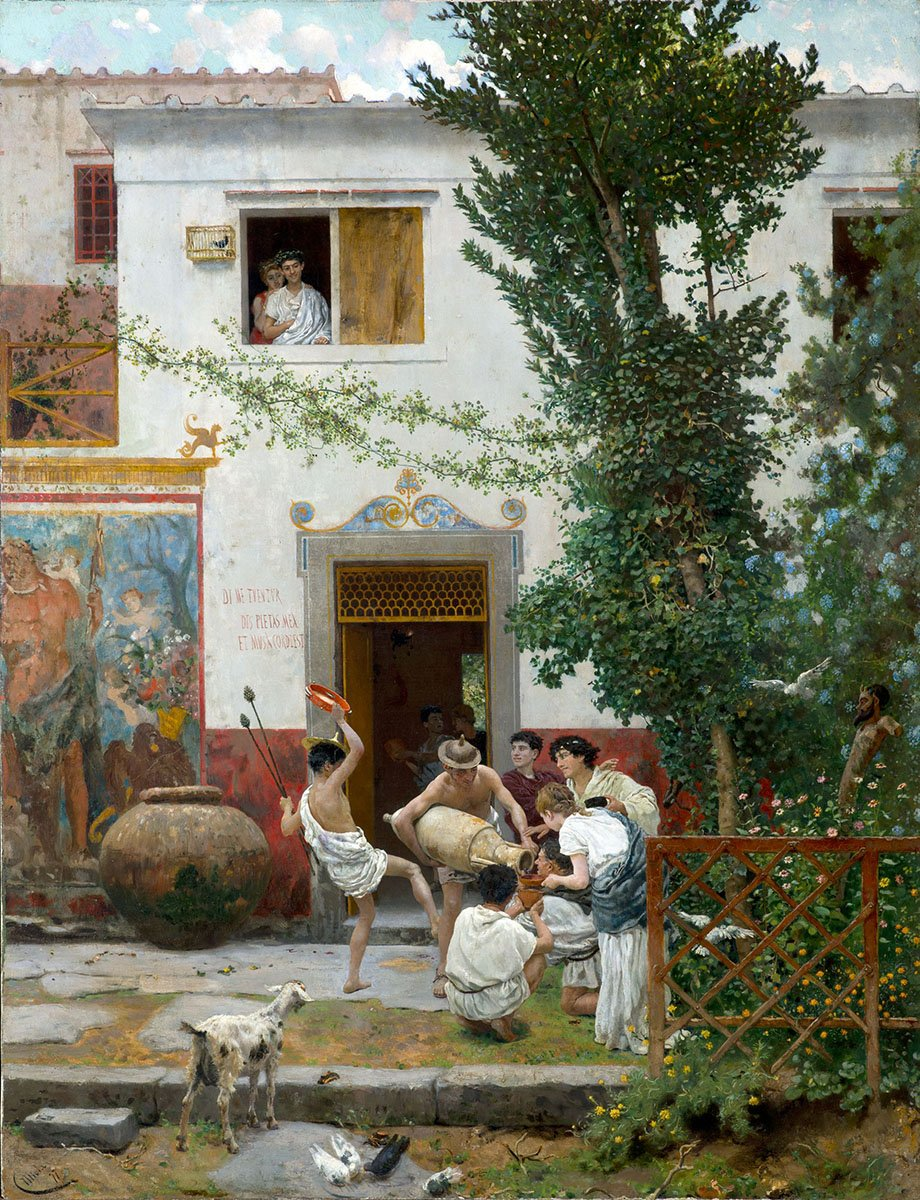 Horace in the villa (1877) by Camillo Miola (1840-1919). Horace (65 to 8 BC) wrote several poems about the villa and it's location, so it has now been found/you can visit. #ItalianArt #Poetpic.twitter.com/uNLxfTNv4D