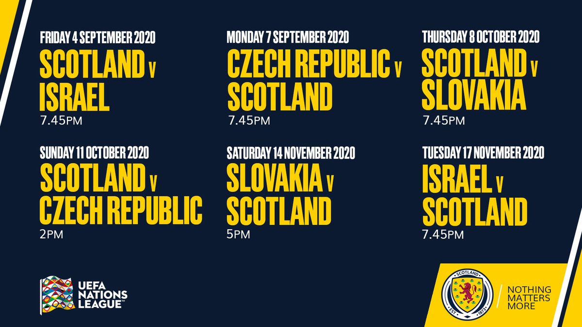Scotland National Team On Twitter The Kick Off Dates And Times For Our Uefa Nationsleague Fixtures Have Been Confirmed Read More Https T Co Ng8nsguxzf Nothingmattersmore Https T Co 654tvc1n70