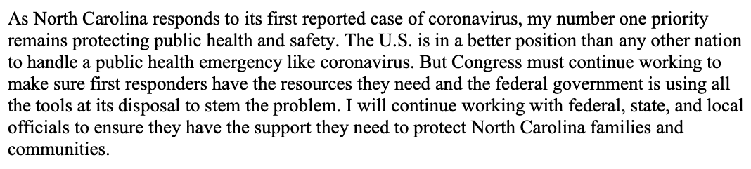 My statement on the first reported case of coronavirus in North Carolina: