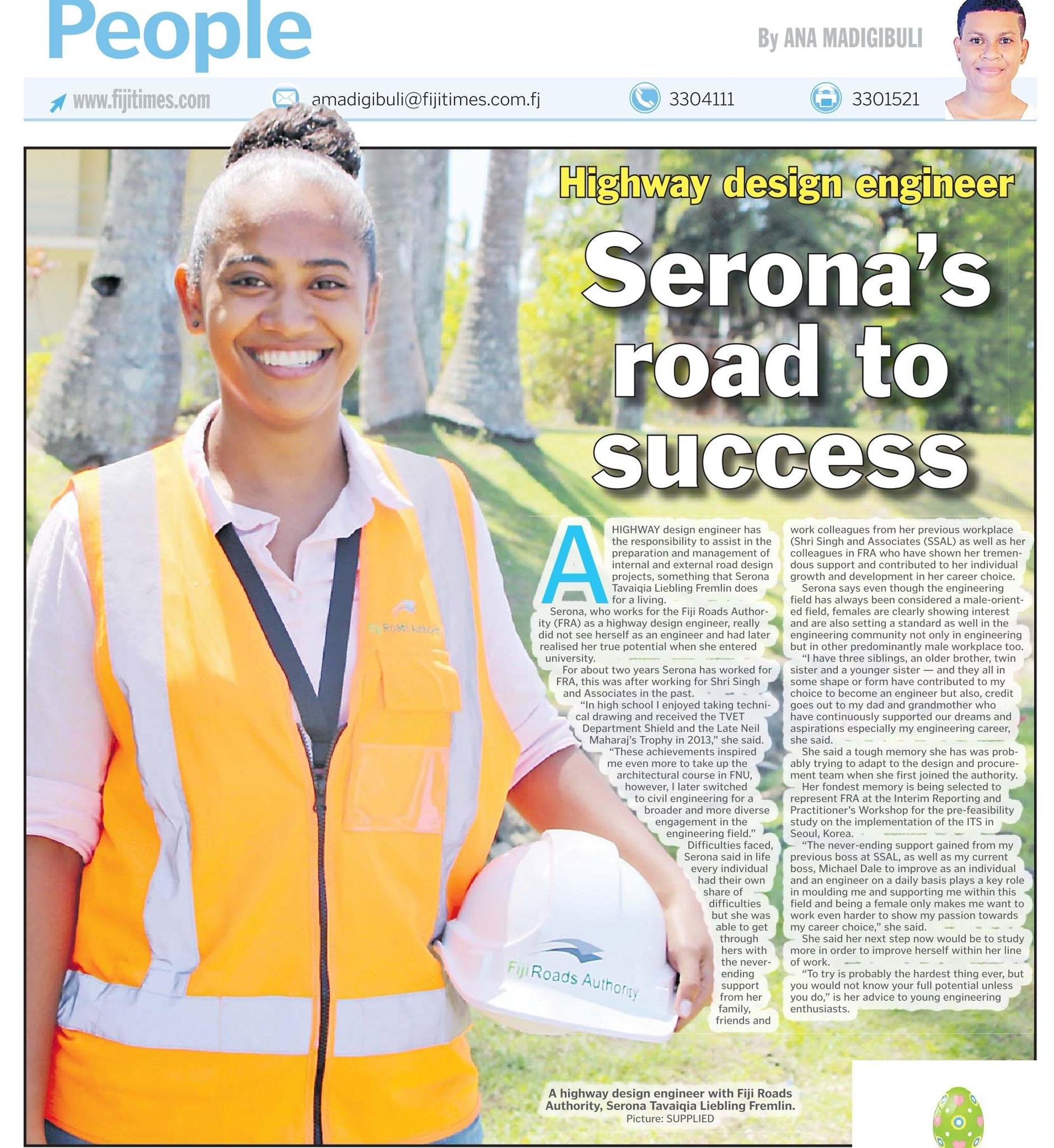 Fiji Roads Authority On Twitter Fra Assistant Highway Design Engineer Ms Serona Fremlin Is Featured In Today S Fijitimes Let S Support Women In Stem Iwd2020 Womeng Eachforequal Https T Co Idmyvbtivl