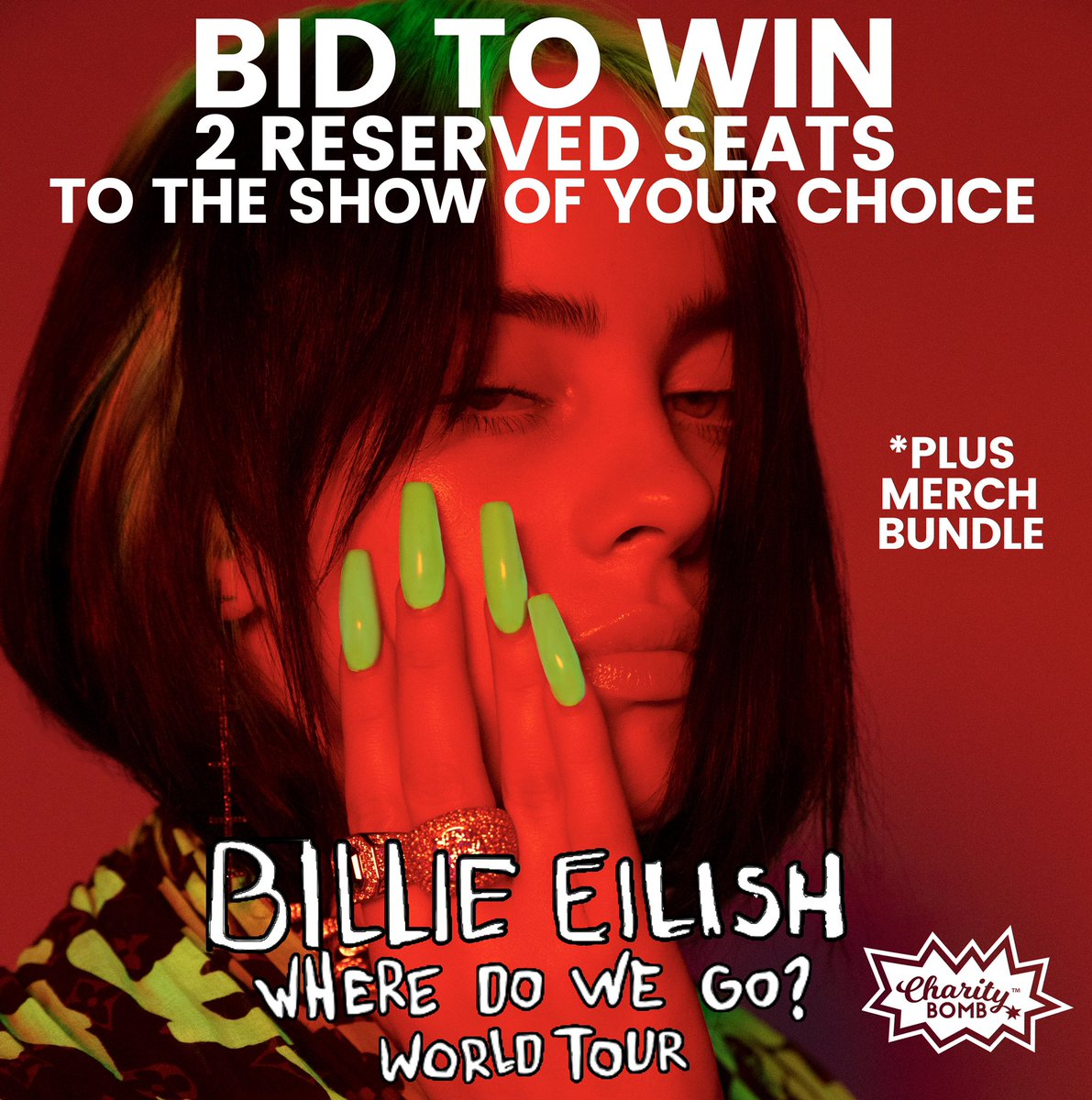 You can support the #GENzEQ initiative! Bid to WIN 2 Reserved Seats to see  @billieeilish  on her WHERE DO WE GO? WORLD TOUR plus a merch bundle! Feed your 'strange addiction' and BID NOW! http://bit.ly/WhereDoWeTour#BillieEilish #wheredowegoworldtour