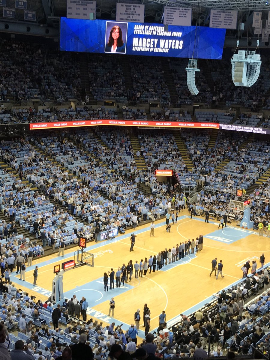 Teaching award winners being recognized at halftime of #UNC men's basketball game tonight! #GoHeels