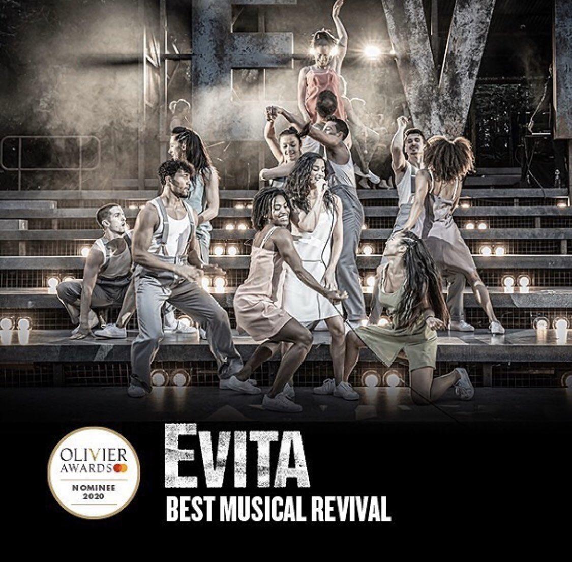 Grandes noticias para EVITA! Tenemos dos nominaciones a los Olivier Awards, los premios más prestigiosos del teatro en Inglaterra! #MejorMusical #MejorCoreografía creada por @fabianaloise 🎉🙌🏽🍾 @LloydJamie @OpenAirTheatre
