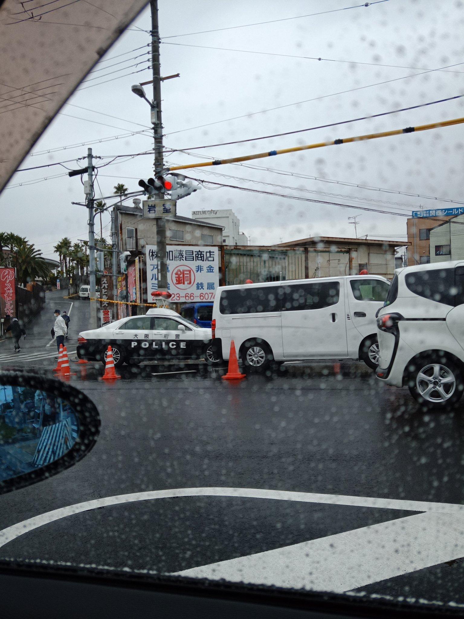 大阪狭山市で男性が刃物で首を刺された事件現場の画像