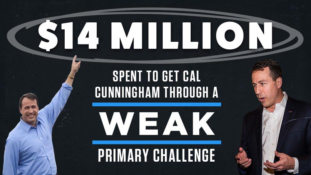 .@CalforNC had $14 million spent on him just to drag him through this weak NC Dem primary. #NCSen #ncpol