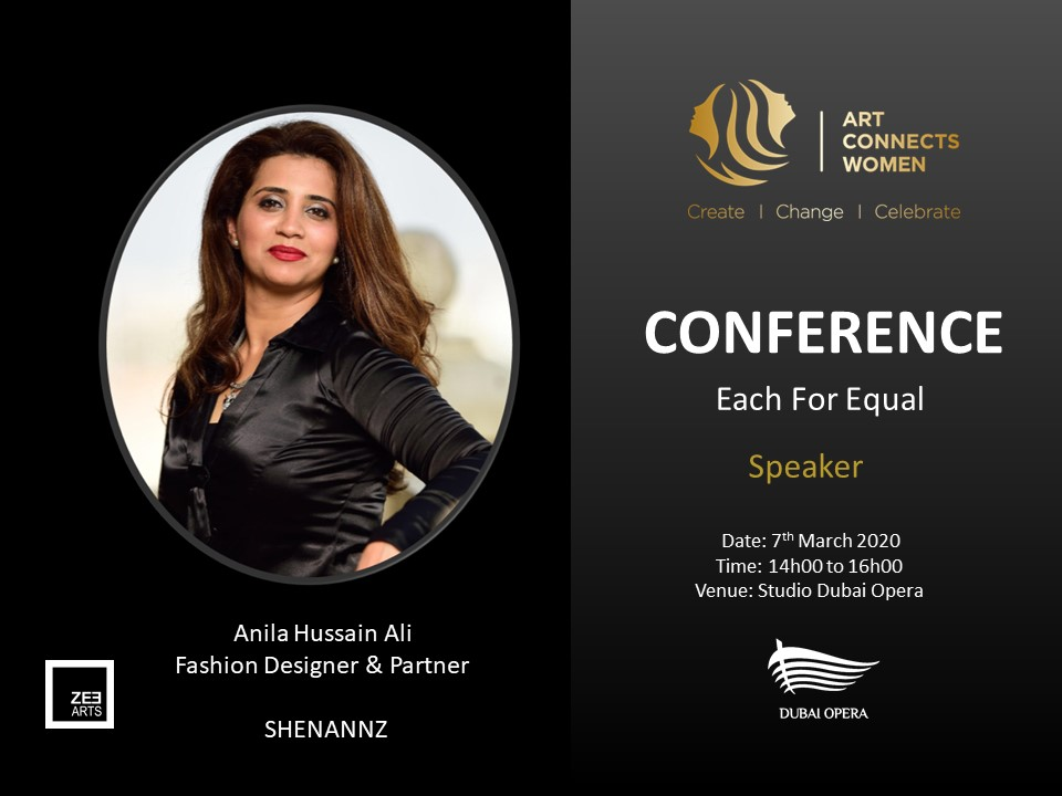 We are so excited to introduce Anila Hussein Ali  Fashion Designer and co- founder of SHENANNZ.   #ZeeArts #ArtistActivist #Conference #Shennanz #FashionShow #Artconnectswomen #EachForEqual #Arts #ArtandFashion pic.twitter.com/Dan2pNNyfZ
