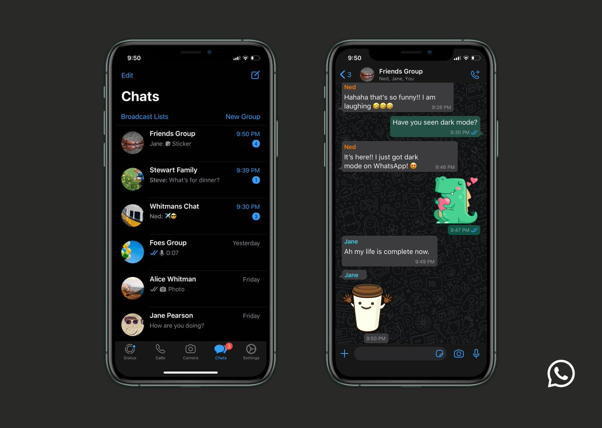 WhatsApp dark mode now available for iOS and Android