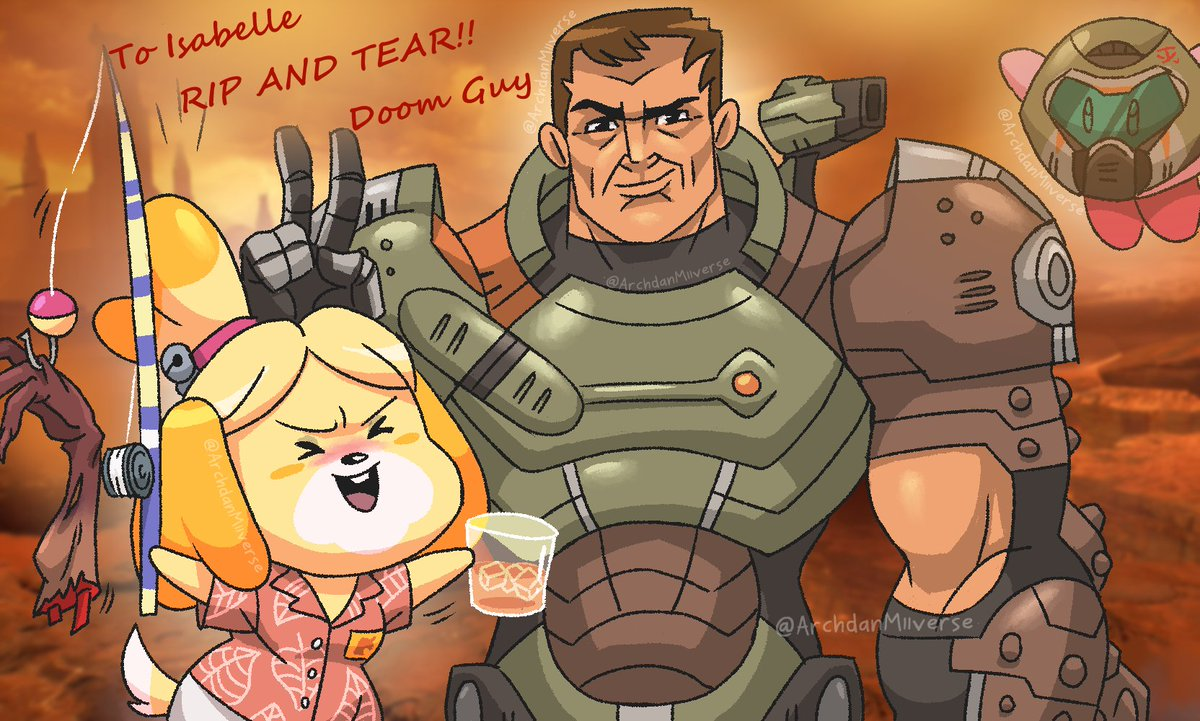 Archdan Lonely Roy Comic On Twitter Doom Guy And Isabelle Having A Great Time Is That A Cacodemon No Its