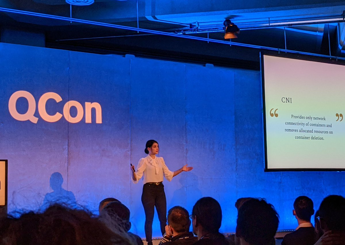 Excellent start to #QConLondon today!  Keynote by @k_gamanji on the importance of #interoperability in #opensource and how standardization of interfaces enabled an extensible system, leading to rapid innovation in the #Kubernetes ecosystem.