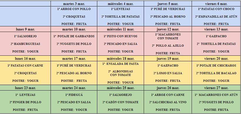 menu comedor marzo