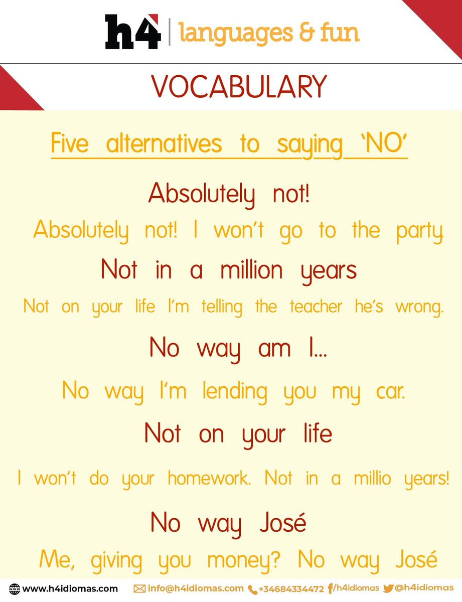 NEW TIP! ¡Di no a lo imposible! Nosotros te ayudamos a mejorar tu inglés. Informarte en nuestra web sobre los fantásticos programas que tenemos preparados en Irlanda para todas las edades. #h4idiomas #englishlearning #englishtips #englishvocabularypic.twitter.com/BYCydfbWDR
