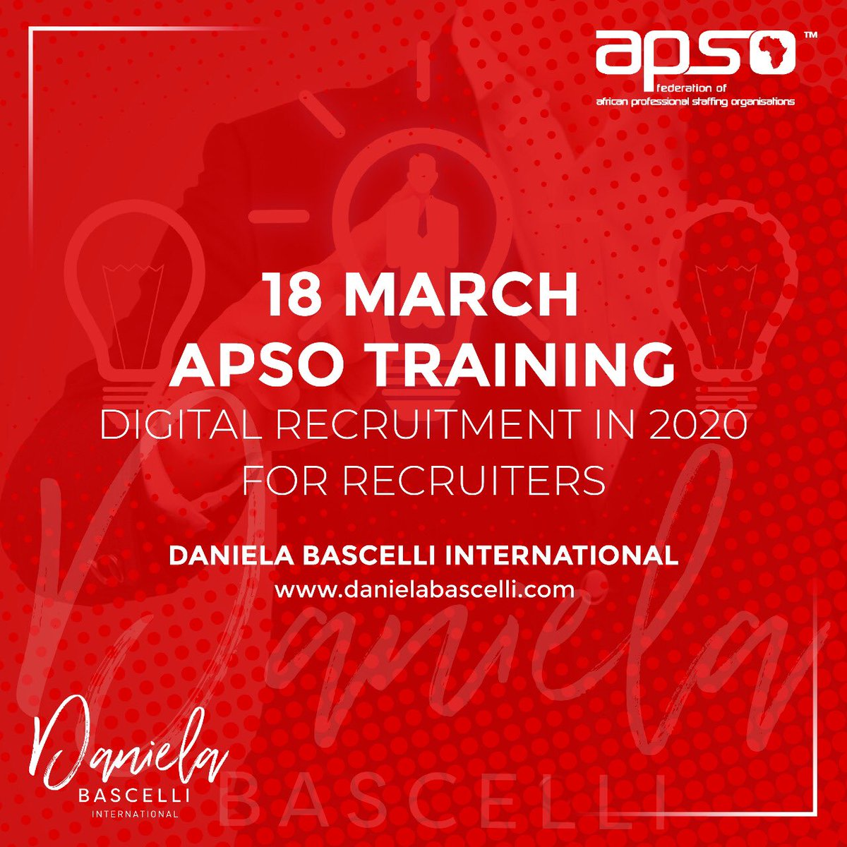 Recruiters! If you're available on this date please book your seats with @apsoza 👈🏻 to get the latest on digital recruitment in 2020! Facilitated by @danielabascelli it's going to be AMAZING!!! 🙌🏼 Don't miss out 🤓  #danielabascelli #businesscoaching #APSO #digitalrecruitment https://t.co/O5Uc4dkSwe
