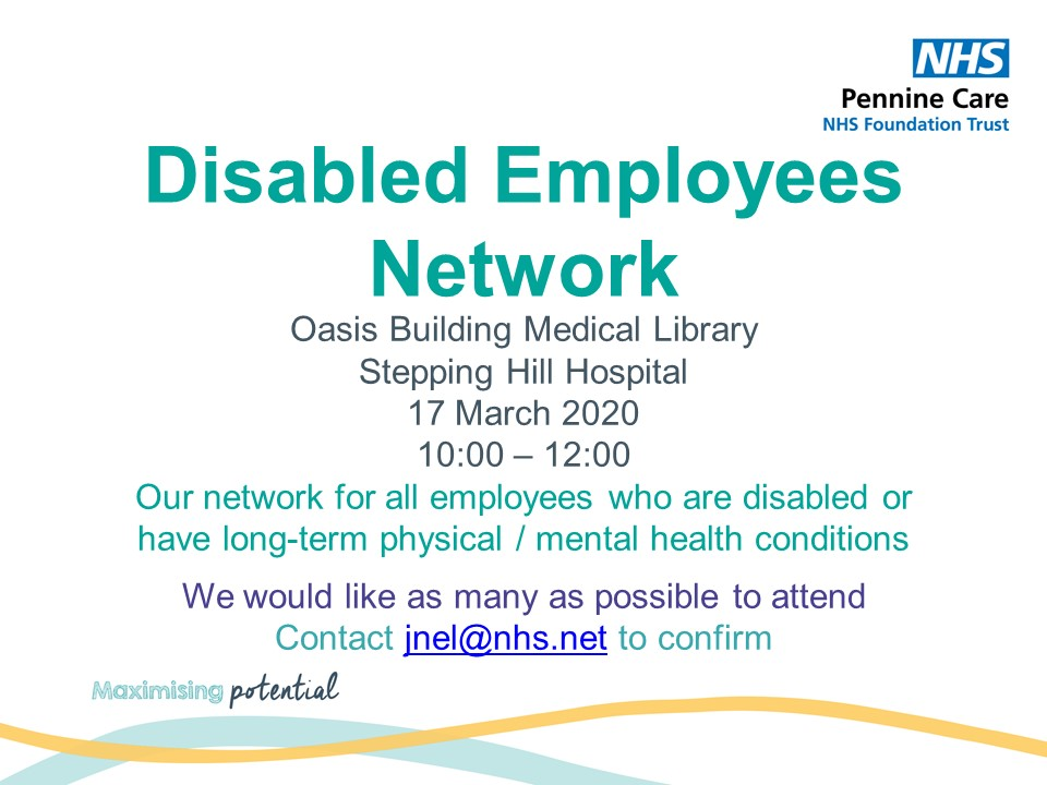 We are looking forward to get our @PennineCareNHS #DisabledEmployeesNetwork going, but we desperately need as many of you as possible to attend our next meeting. Please RT and share with your teams #PennineCarePeople #DisabilityRights #disabledpeoplerock #kindness https://t.co/DJFnXNrk27