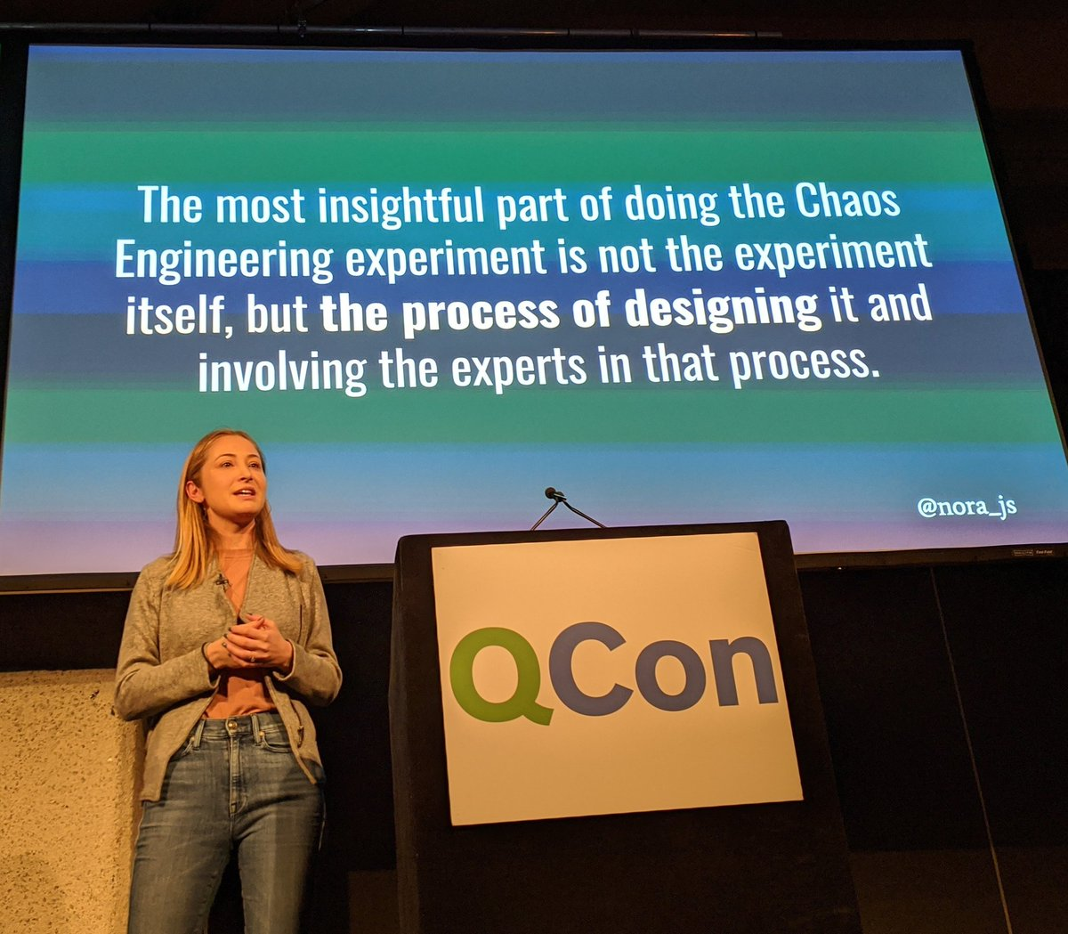 Valuable insights from @nora_js about where the real value of chaos engineering lies #QConLondon