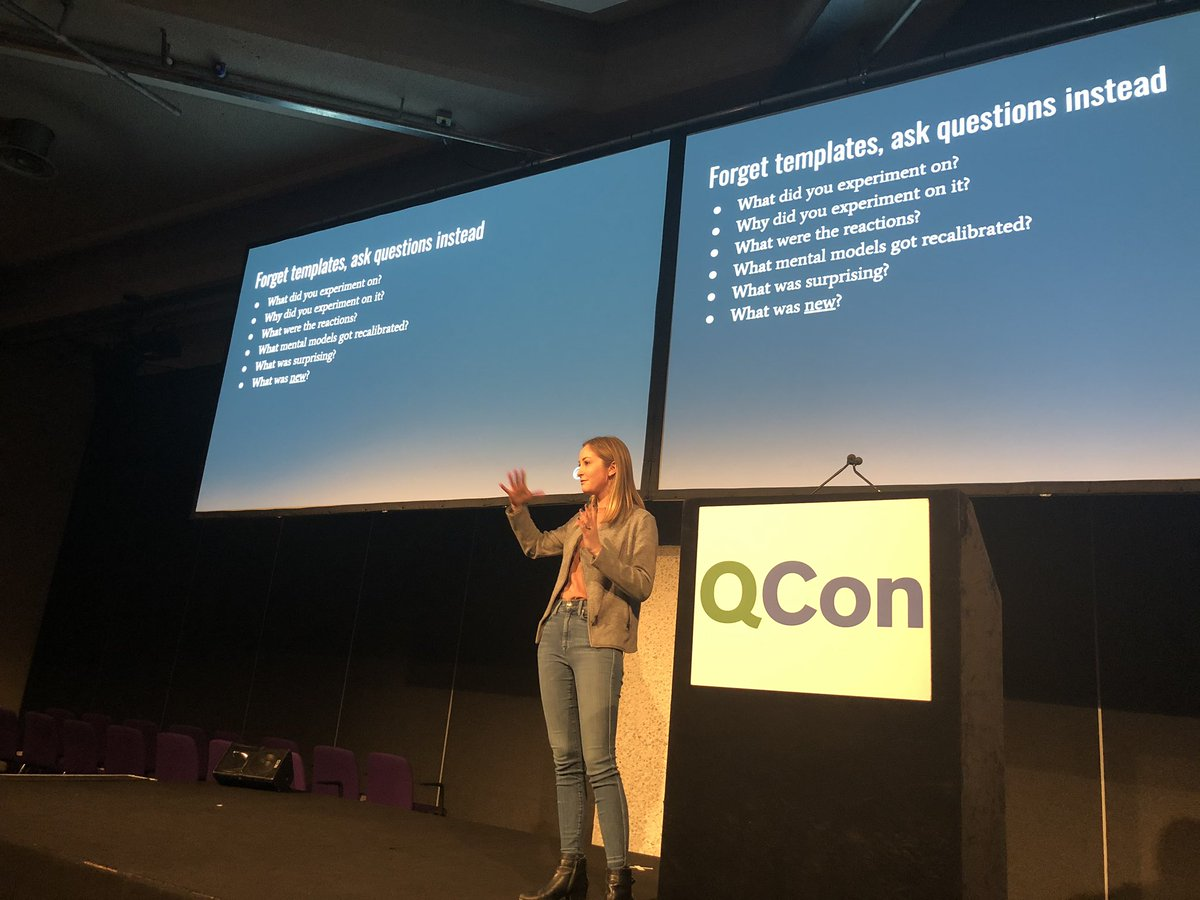 """""""Forget templates, ask questions"""" This is such an important point. Preparations are meaningful when they drive discussion that helps establish and maintain common ground. Ticking a box on a form limits learning. @qconlondon #resilience #chaos #learningfromincidents #safety"""