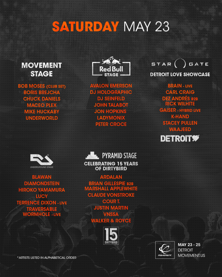 2020 Movement Music Festival schedule