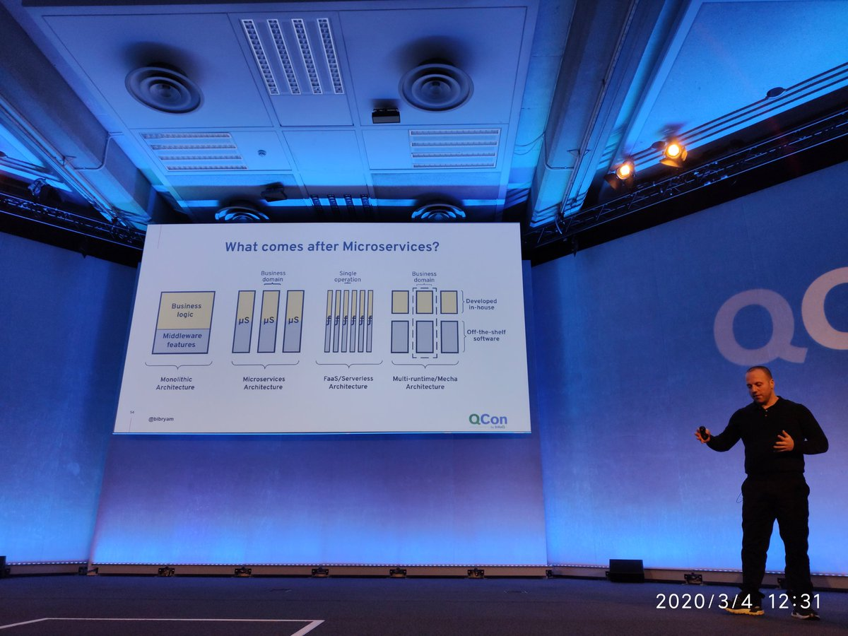 What comes after microservices? *Multi-runtime/Mecha architecture  *Faas/serverless.  Second very impressive and cool talk of #QConLondon day3 about #microservices, #knative, #Serverless, #cloudstate, #sidecars, #kubernetes, patterns and future by @bibryam at #qconlondon.