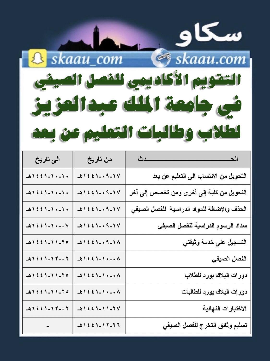 سكاو على تويتر التقويم الأكاديمي للفصل الصيفي في جامعة الملك عبدالعزيز لطلبة الانتساب و التعليم عن بعد سكاو