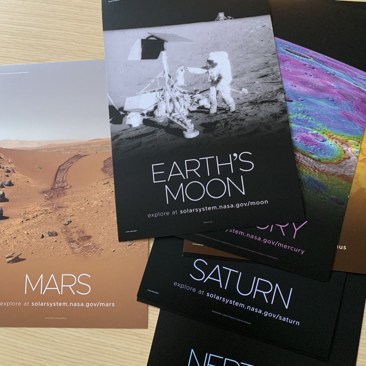 One NASA space swag is this cool set of planet cards.