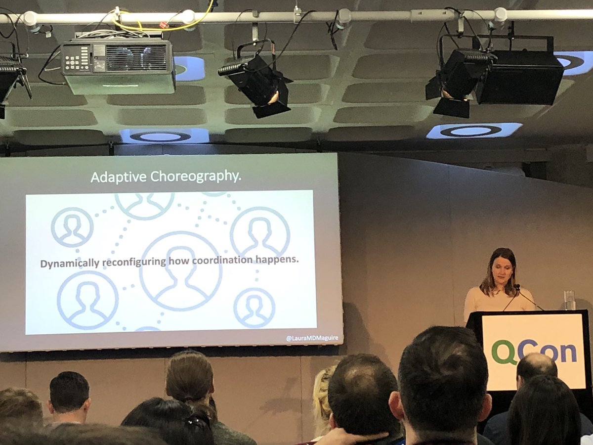 Great talk by @LauraMDMaguire at #QConLondon - hot off the PHD press talking about Adaptive Choreography as a new model to help deal with cognitive (coordination) load during outages