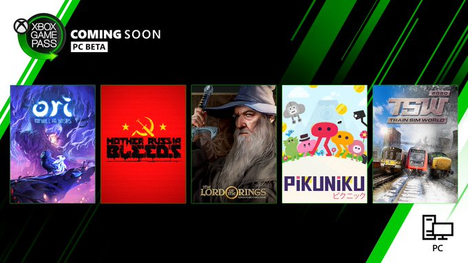 Black and green back ground with box art from 5 games. The box art games include, Ori and the Will of the Wips, Mother Russia Bleeds, The Lord of the Rings, Pikuniku, and Train Sim World.