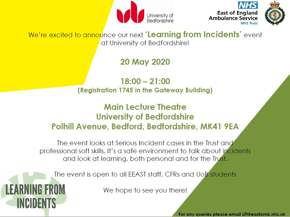 A date for your diaries... 20 May at 18:00, will be our 5th #learningfromincidents event at University of Bedfordshire 🙌 Register your attendance here: eventbrite.co.uk/e/learning-fro…