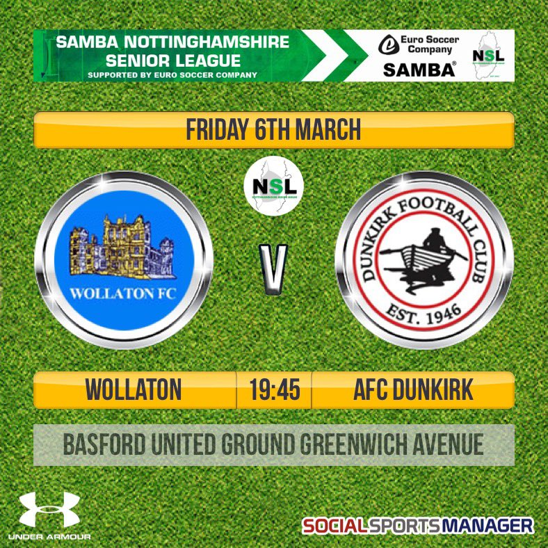 This Friday night our 1st team are under light at basford where they will be taking on @Dunkirk_FC. Entry is £3 with a programme. #cmonyousugarbags #UTWpic.twitter.com/nzplijx6gA