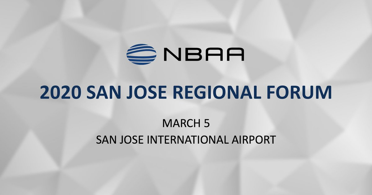We're looking forward to an eventful day of connecting with industry friends at @NBAA's 2020 San Jose Regional Forum on March 5. #nbaa #bizav