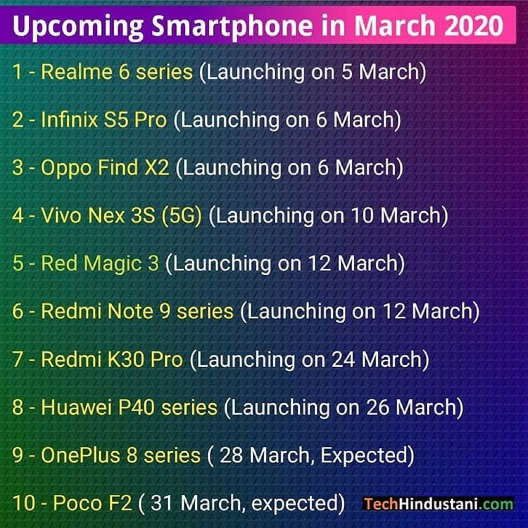 Upcoming Smartphone In March  . Credit @TechHindustani  . #realme6series #realme6 #realme6pro #oppofindx2 #infinixs5pro #vivonex3s #redmagic3 #redminote9 #redminote9pro #redmik30pro #huaweip40 #oneplus8 #oneplus8pro #pocof2 #pocox2 #pocof1 #oneplus7 #oneplus7pro #oneplus7pic.twitter.com/PEFHwtNzib