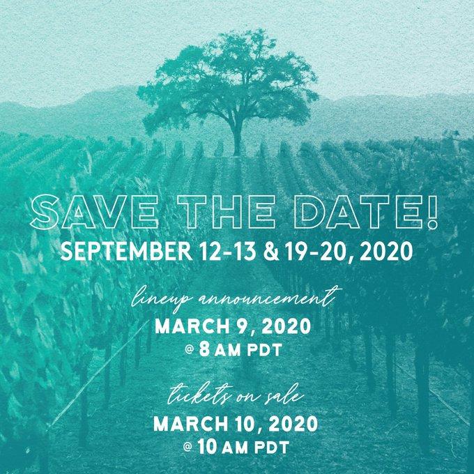 Sonoma Harvest Music Festival 2020 dates