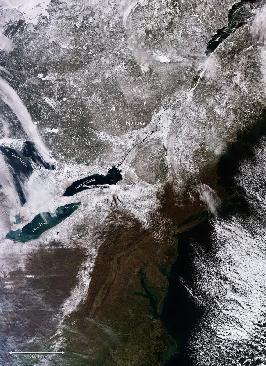 #LakeHuron, #LakeErie and #LakeOntario captured by @CopernicusEU #Sentinel3 on 1 March. A powerful winter storm, with #Lakeffect snow, brought blizzard conditions to New York last week and buried the area surrounding the #GreatLakes under a blanket of snow. https://t.co/cOMdRC46RI