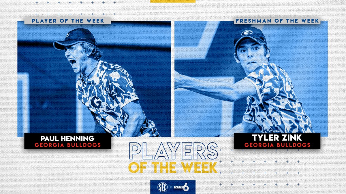SEC Men's Tennis Weekly Honors: @UGAtennis Philip Henning (Player) & Tyler Zink (Freshman). secsports.com/article/288368…