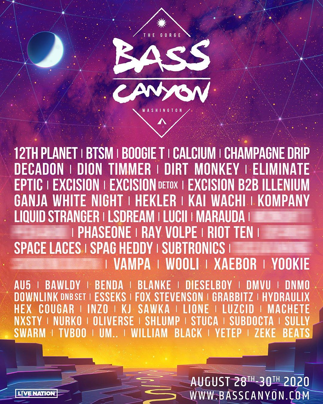 Bass Canyon lineup 2020