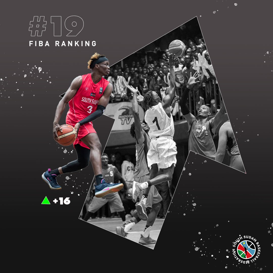 Our Senior Men's Team move up +16 spots to be ranked #19 in Africa by @FIBA   #SouthSudanBasketball 🇸🇸🏀 https://t.co/CrT6jAehK7