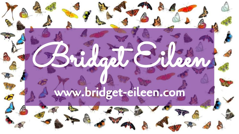 Bridget Eileen homepage is Bridget-Eileen.com banner with butterfly background, purple call out box with white script