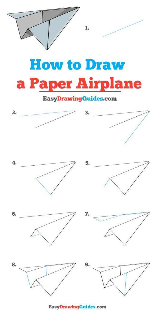 Easy Drawing Guides On Twitter Paper Airplane Drawing Lesson