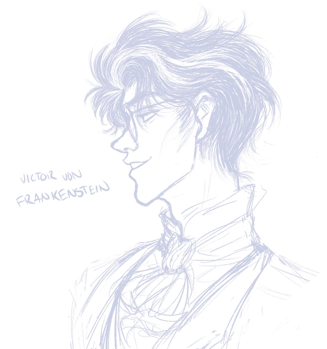 Speaking of this selfish, pretentious devil...  Self-indulgent Victor sketch for y'aLL! Also like lowkey a face study that I might color later, idk  #victorfrankenstein #victor #frankenstein #fanart #ilikehisfaceok #digitalart #art #facestudy pic.twitter.com/9MSNU32Rhf