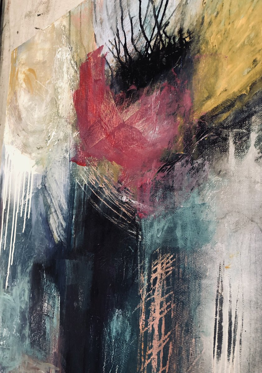 """Metamorphosis""  18 x 24 x 1.5"" $195.00  Message me for purchase or with any questions! #metamorphosis #abstractart #punkrock #punkfashion #artandfashion #painter  #giftart #artoftheday #artistinstudio #artistlifepic.twitter.com/D0sLBxFjWG"