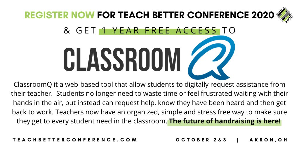 The future of handraising is here! Students no longer need to waste time or feel frustrated waiting with their hands in the air, but instead can request help, know they have been heard and then get back to work.  Register at  @theClassroomQ #TeachBetter20