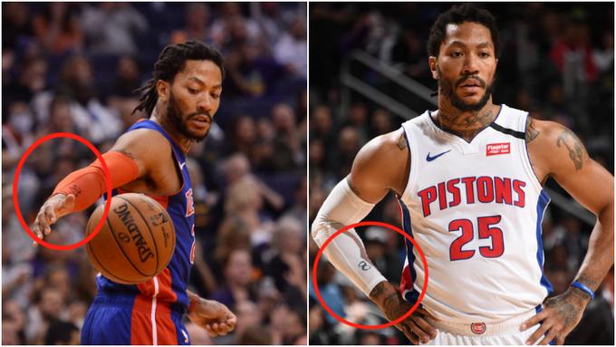 你留意到了嗎?老大意外逝世後,羅斯每場比賽的護臂上,都寫了一個8來悼念Kobe!-Haters-黑特籃球NBA新聞影音圖片分享社區