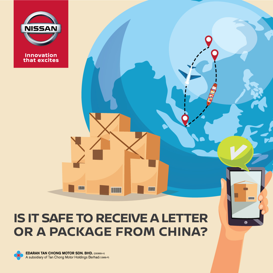 Yes, it is safe. People receiving packages from China are not at risk of contracting COVID-19. From the previous analysis, COVID-19 do not survive long on objects, such as letters or packages.  Source: World Health Organization  #covid19 #nissanmalaysia #WHO https://t.co/PYbYB4bDD0