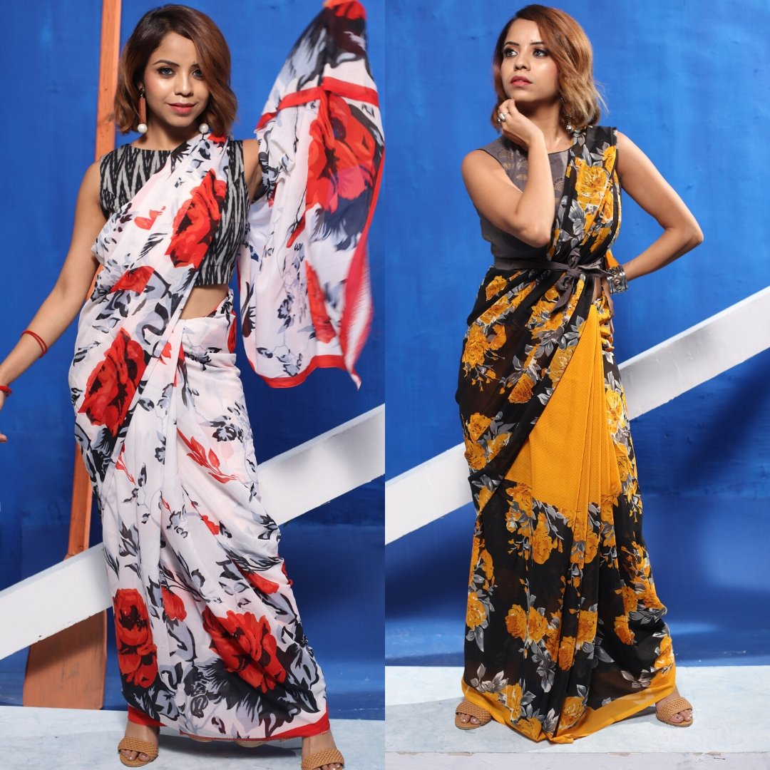 Comment down below and let us know which Floral Saree Look you  love most. Shop now and get up to 80% off. Featuring:- @bipasha_banikya18 Product ID - 3065079, 3065064 Product details & price - http://bit.ly/2PJBbsO  . . #RelivIndia #FloralSaree #Saree #Mirrawpic.twitter.com/kBjoybwoug