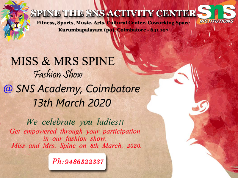 MISS & MRS SPINE EVENT  We celebrate you ladies!! Get empowered through your participation in our fashion show, Miss and Mrs. Spine on 13th March, 2020.  #missandmrsspine #fashionshow #coimbatoreevents #spinepic.twitter.com/qv7HjayIgc