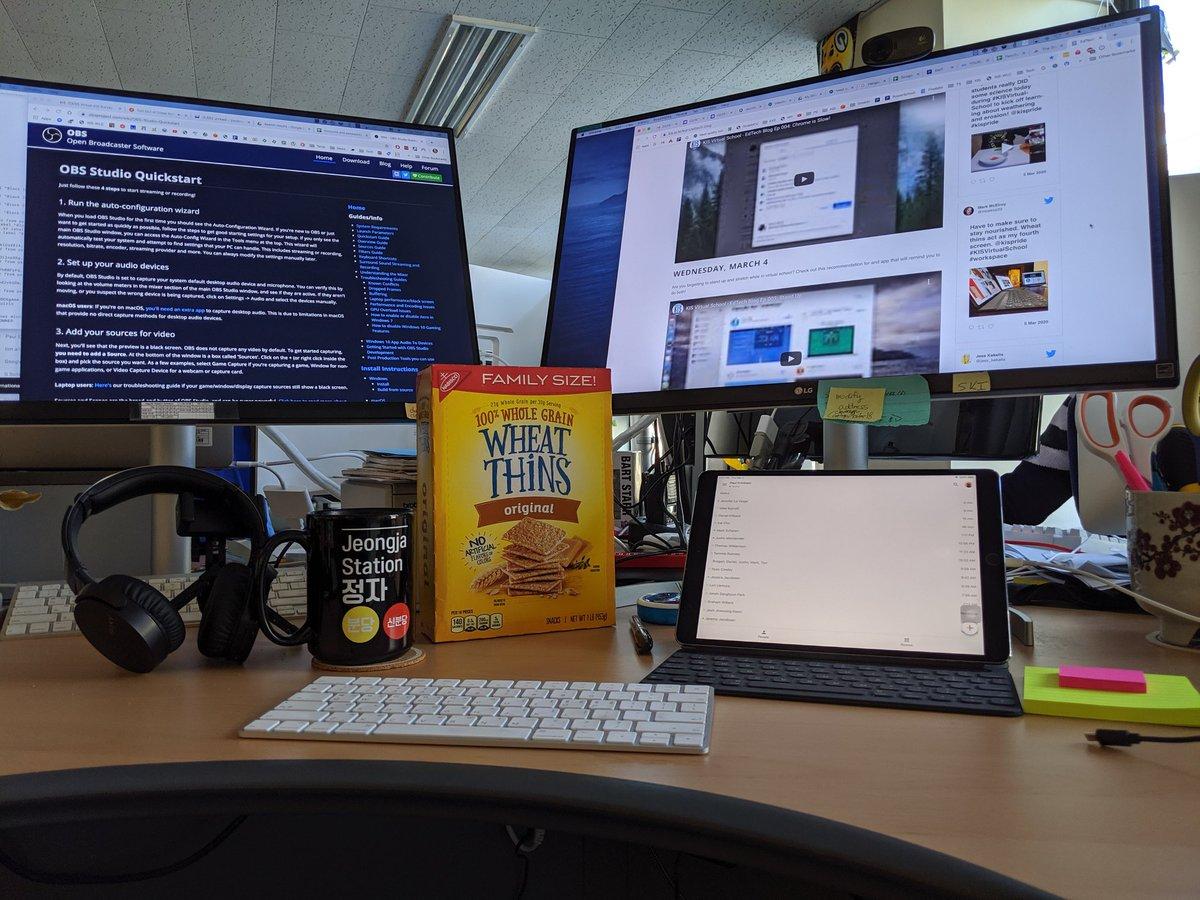 @mcelroy23 @kispride Great minds and Wheat Thins. @mcelroy23 @kispride #kisvirtualschool #workspace
