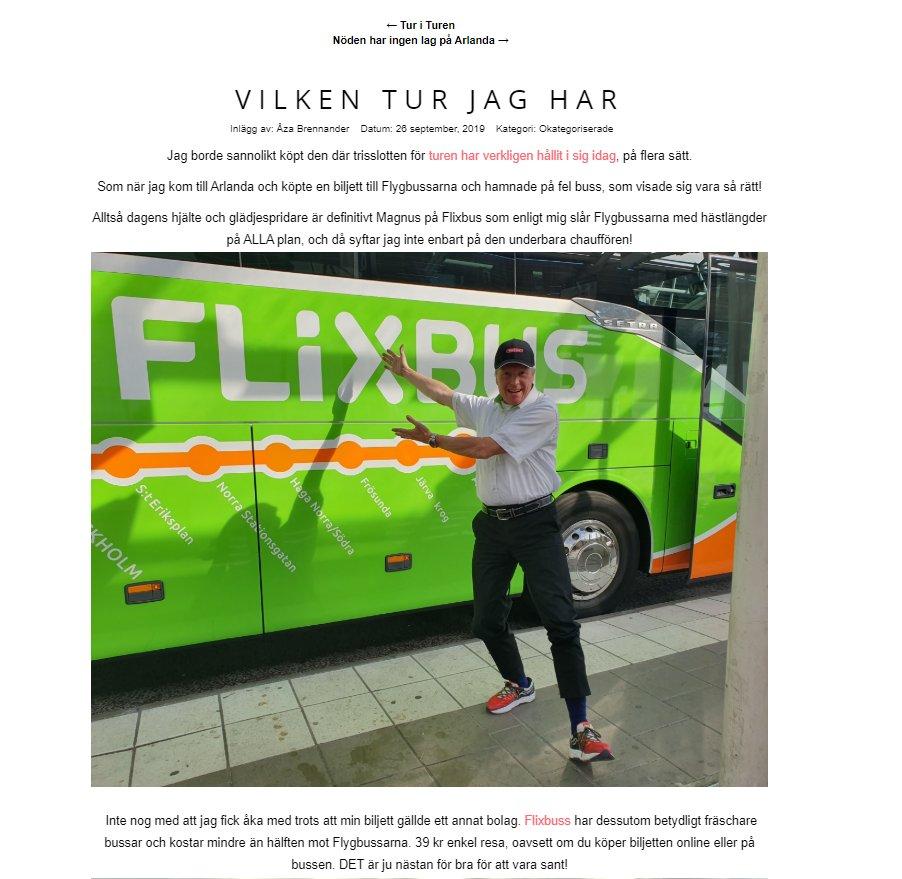 Glad man blir när man stöter på Åza Brennanders blogginlägg! Inte från igår direkt, men ändå riktigt kul att läsa💚#flixbus till #arlanda https://t.co/HwJbWGxXTM