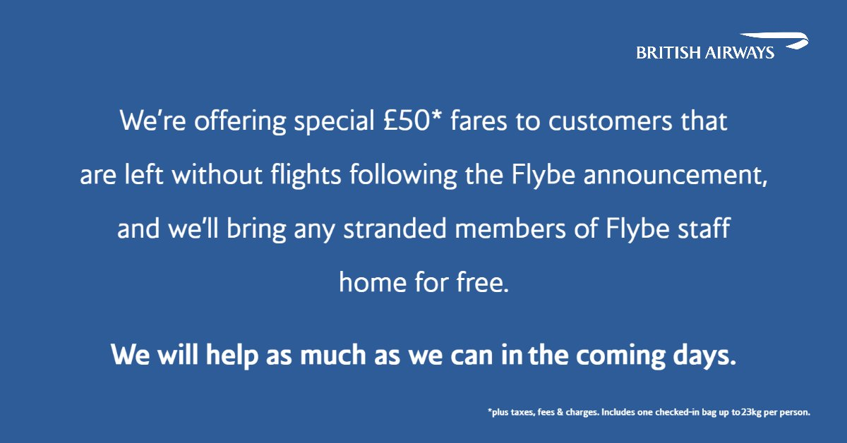 We're offering support to stranded #Flybe customers and members of staff. Please call us directly to take advantage of these offers, visit https://t.co/Hcm7iTUFUL https://t.co/pFUdAu4T7p